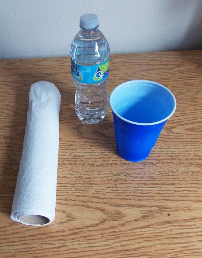 water, cup, towel