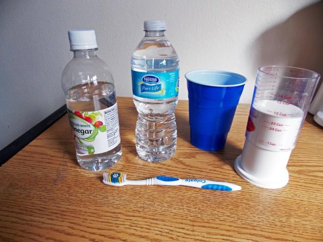 water, vinegar, toothbrush, soap
