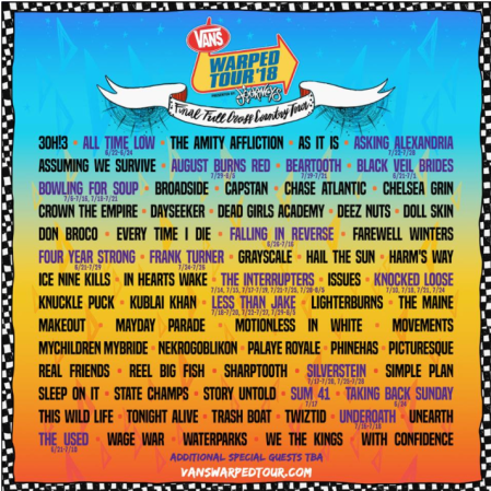 Final Warped Tour lineup screen shotted by Kristine Giurco