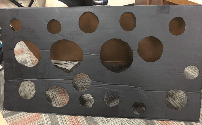 Box with holes painted in black