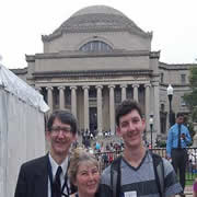 Fred and Kathy with their son, Samuel, during his freshman orientation at Columbia in the summer of 2013.