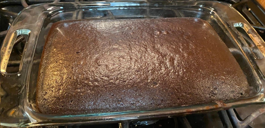 Cake after it has been taken out of the oven.