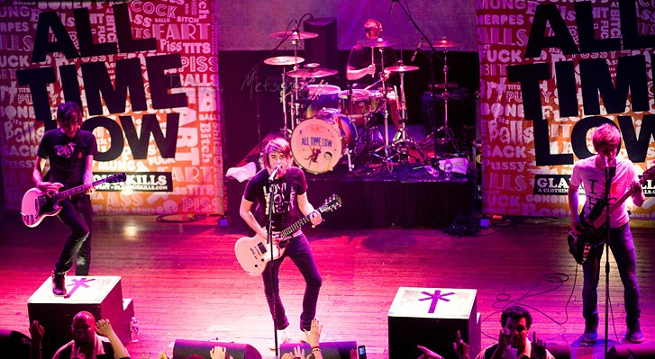 All Time Low performing onstage in 2008