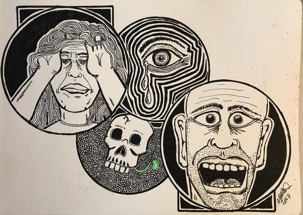 Drawing depicting stress and anxiety by Mike Kline. Image credit to Mike Kline (under CC BY 2.0, no changes have been made.)