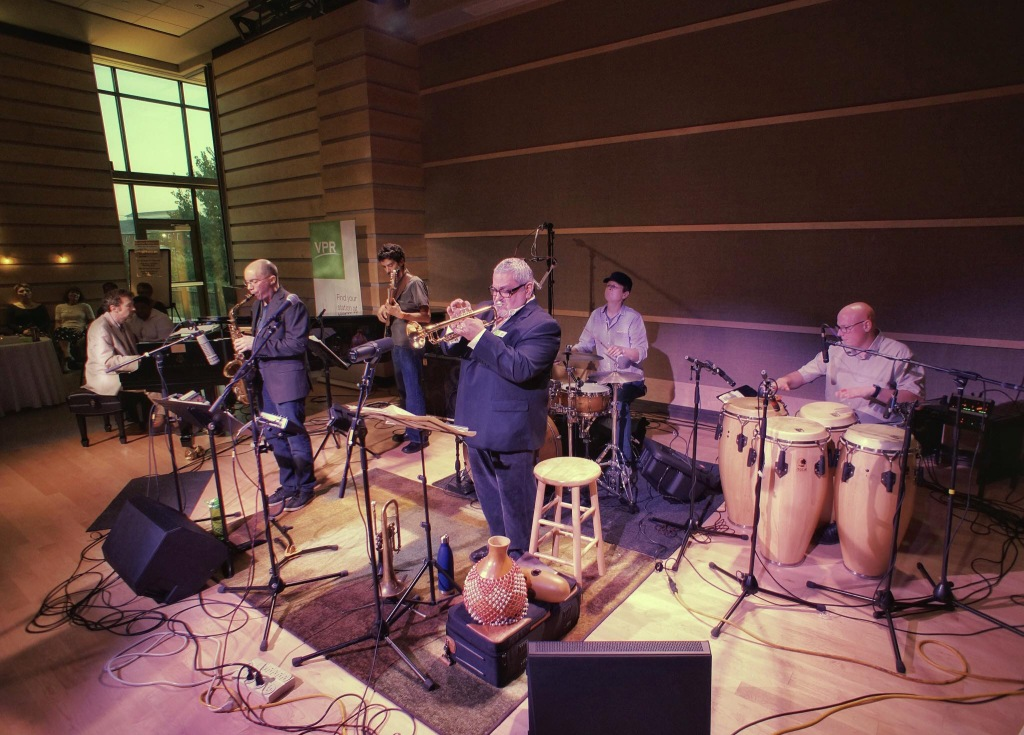 The Ray Vega Latin Jazz Sextet playing at the offices of Vermont Public Radio (photo provided by Angela Brown of Hill and Hollow).